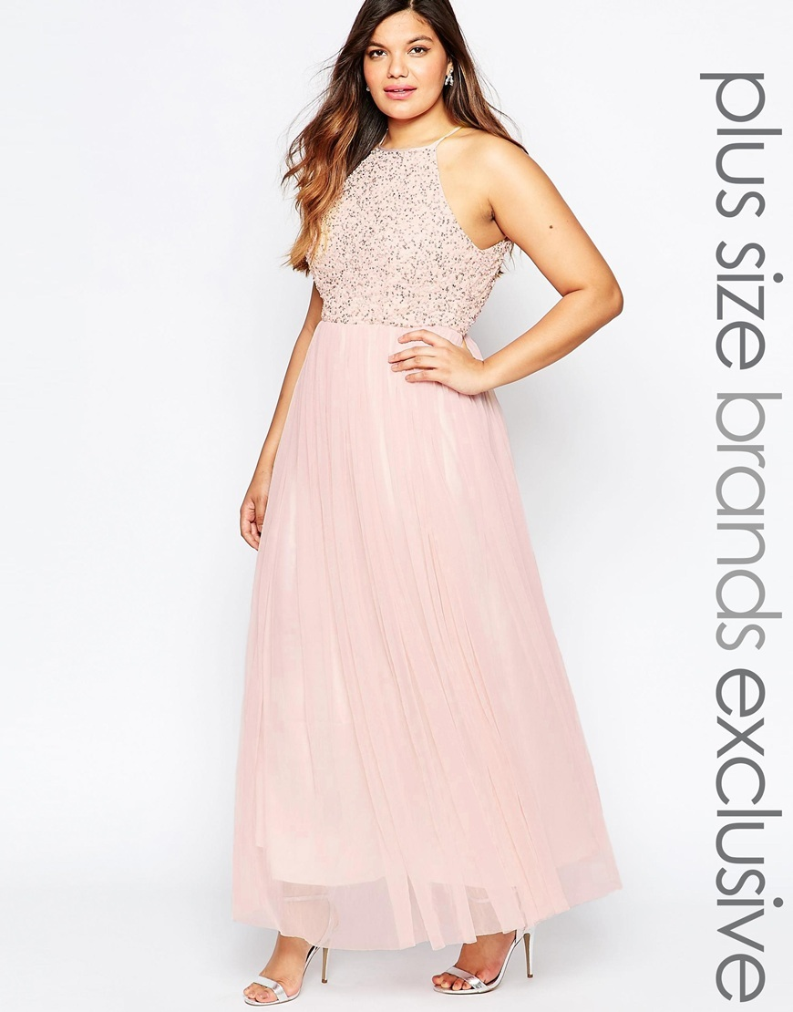 Halter Sequin Maxi Dress Blush - pattern: plain; sleeve style: sleeveless; style: maxi dress; length: ankle length; bust detail: added detail/embellishment at bust; predominant colour: blush; occasions: evening; fit: fitted at waist & bust; fibres: polyester/polyamide - 100%; neckline: crew; hip detail: soft pleats at hip/draping at hip/flared at hip; sleeve length: sleeveless; texture group: sheer fabrics/chiffon/organza etc.; pattern type: fabric; embellishment: beading; season: a/w 2015; wardrobe: event