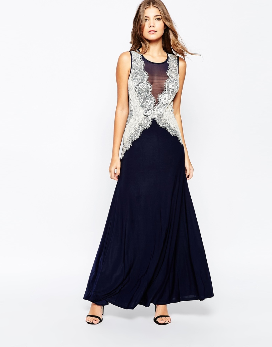 Maxi Dress With Lace Side Panels Navy/Nude - neckline: round neck; pattern: plain; sleeve style: sleeveless; style: maxi dress; length: ankle length; bust detail: sheer at bust; secondary colour: ivory/cream; predominant colour: navy; occasions: evening; fit: fitted at waist & bust; fibres: polyester/polyamide - stretch; sleeve length: sleeveless; texture group: sheer fabrics/chiffon/organza etc.; pattern type: fabric; embellishment: lace; multicoloured: multicoloured; season: a/w 2015