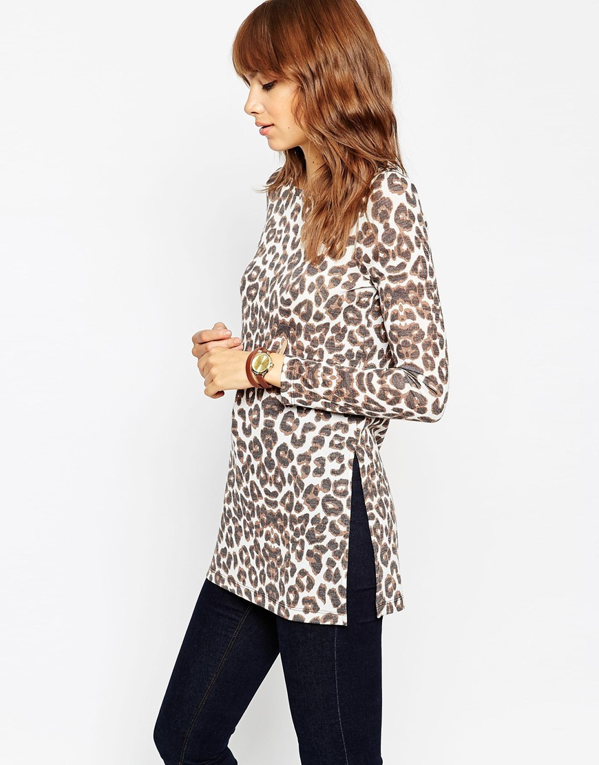 Leopard Print Cut And Sew Split Side Longline Top Multi - neckline: round neck; length: below the bottom; predominant colour: chocolate brown; occasions: casual, creative work; style: top; fit: body skimming; sleeve length: long sleeve; sleeve style: standard; pattern type: fabric; pattern: animal print; texture group: jersey - stretchy/drapey; pattern size: big & busy (top); season: a/w 2015