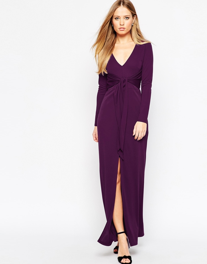 Plunge Tie Maxi Dress Purple - neckline: low v-neck; pattern: plain; style: maxi dress; length: ankle length; predominant colour: purple; fit: body skimming; fibres: polyester/polyamide - 100%; occasions: occasion; sleeve length: long sleeve; sleeve style: standard; pattern type: fabric; texture group: jersey - stretchy/drapey; season: a/w 2015; wardrobe: event