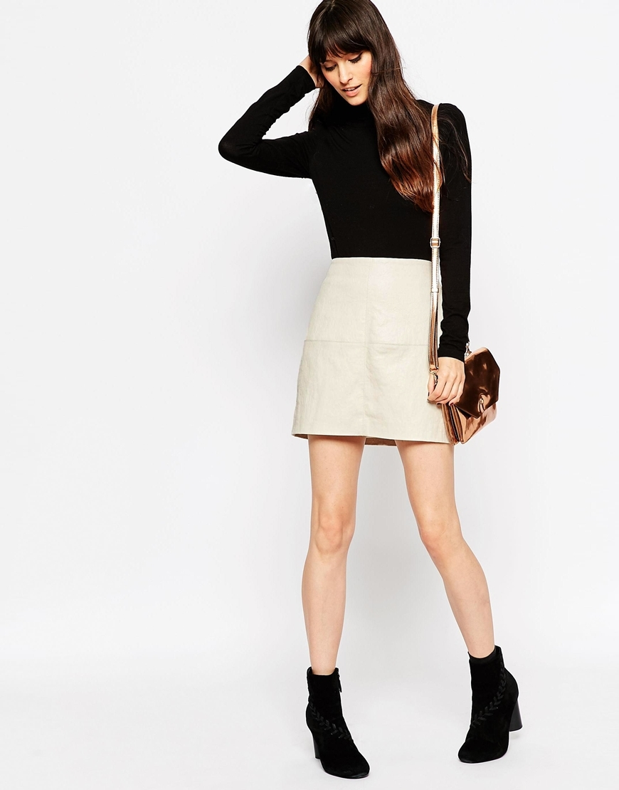 Textured Pu Mini Skirt Stone - length: mini; pattern: plain; waist: high rise; predominant colour: ivory/cream; occasions: evening; style: mini skirt; texture group: leather; fit: straight cut; pattern type: fabric; fibres: pvc/polyurethene - 100%; season: a/w 2015; wardrobe: event