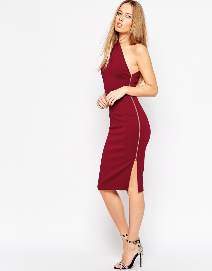 One Shoulder Midi Dress With Exposed Zip Oxblood - neckline: off the shoulder; pattern: plain; sleeve style: sleeveless; style: asymmetric (top); occasions: evening, occasion; length: on the knee; fit: body skimming; fibres: polyester/polyamide - 100%; hip detail: slits at hip; sleeve length: sleeveless; pattern type: fabric; texture group: jersey - stretchy/drapey; predominant colour: raspberry; season: a/w 2015