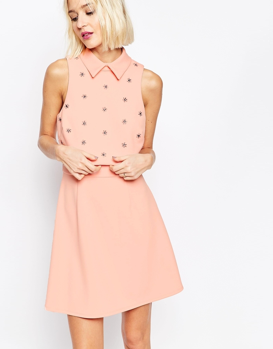 Embellished Floral Crop Top Scuba Skater Mini Dress Pink - length: mid thigh; pattern: plain; sleeve style: sleeveless; predominant colour: pink; secondary colour: silver; occasions: evening; fit: fitted at waist & bust; style: fit & flare; fibres: polyester/polyamide - 100%; neckline: no opening/shirt collar/peter pan; sleeve length: sleeveless; pattern type: fabric; texture group: other - light to midweight; embellishment: crystals/glass; season: a/w 2015; wardrobe: event; embellishment location: top