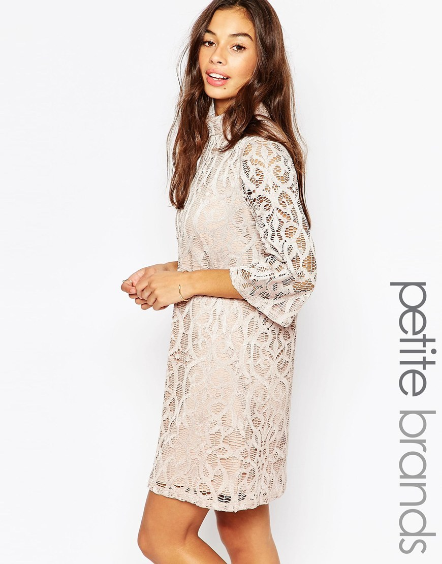 Half Sleeve All Over Lace Dress Champagne - style: tunic; length: mid thigh; neckline: high neck; predominant colour: ivory/cream; occasions: evening; fit: straight cut; fibres: polyester/polyamide - 100%; sleeve length: 3/4 length; sleeve style: standard; texture group: lace; pattern type: fabric; pattern size: standard; pattern: patterned/print; season: a/w 2015; wardrobe: event