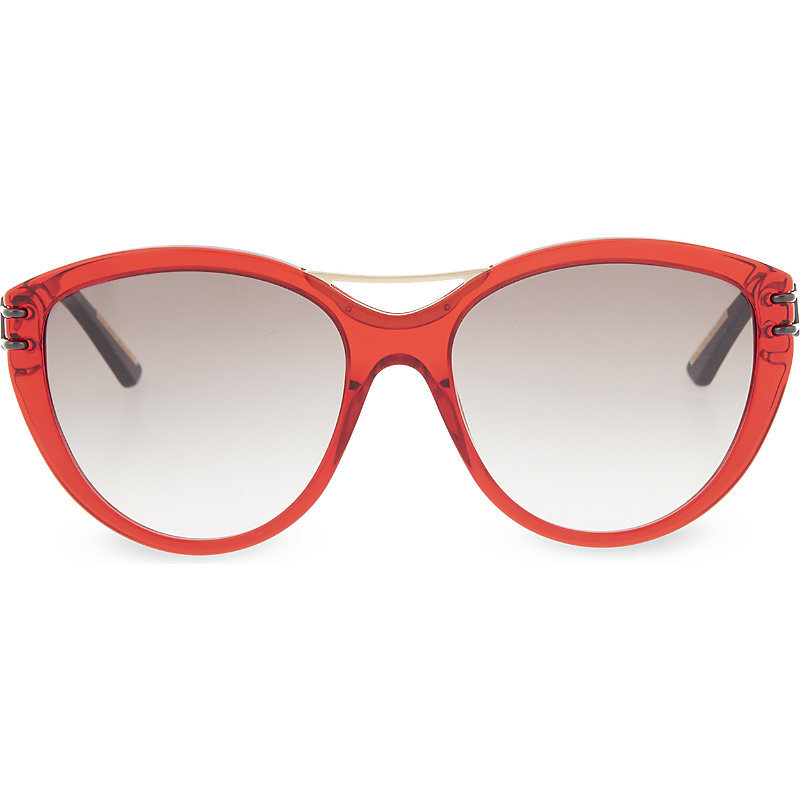Jones Tortoiseshell Cateye Aviator Sunglasses, Women's, Trans Red - predominant colour: true red; occasions: casual, holiday; style: cateye; size: large; material: plastic/rubber; pattern: plain; finish: plain; season: a/w 2015; wardrobe: highlight