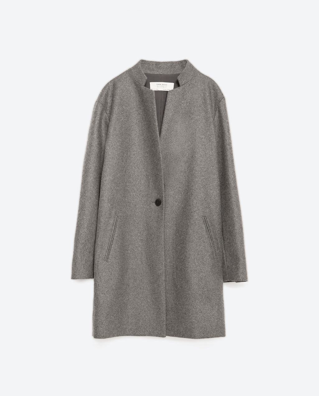 Masculine Wool Coat - pattern: plain; length: below the bottom; fit: loose; style: single breasted; collar: standard lapel/rever collar; predominant colour: mid grey; occasions: casual, work, creative work; fibres: wool - 100%; sleeve length: long sleeve; sleeve style: standard; collar break: medium; pattern type: fabric; texture group: woven bulky/heavy; season: a/w 2015; wardrobe: basic