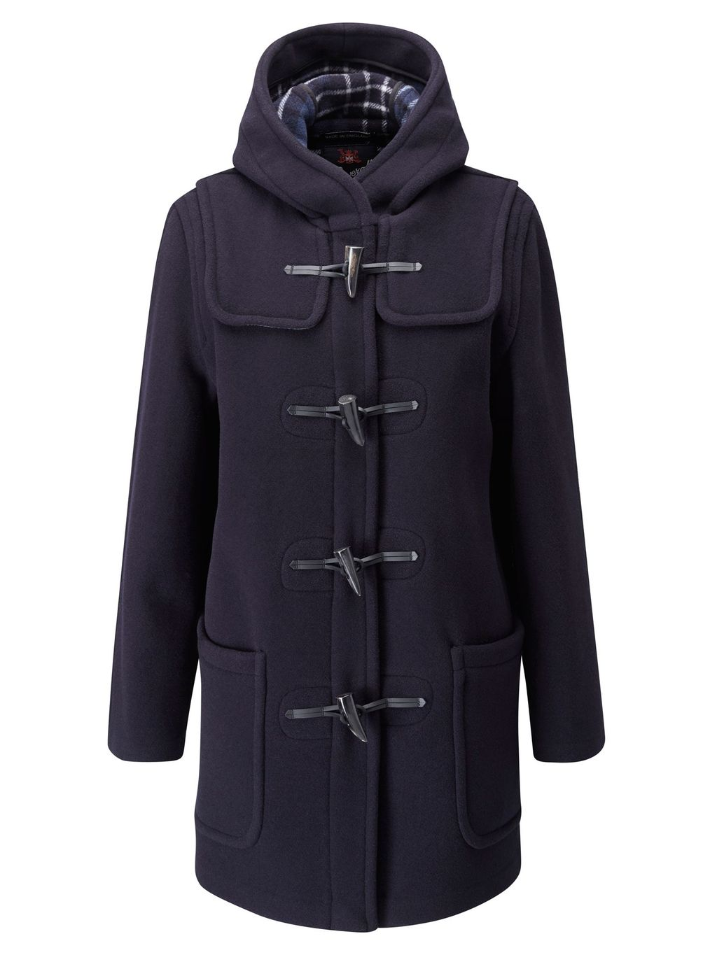 Mid Length Original Fit Duffle Coat, Navy - pattern: plain; collar: funnel; back detail: hood; style: duffle coat; length: mid thigh; predominant colour: navy; occasions: casual, creative work; fit: straight cut (boxy); fibres: wool - mix; sleeve length: long sleeve; sleeve style: standard; collar break: high; texture group: woven bulky/heavy; season: a/w 2015