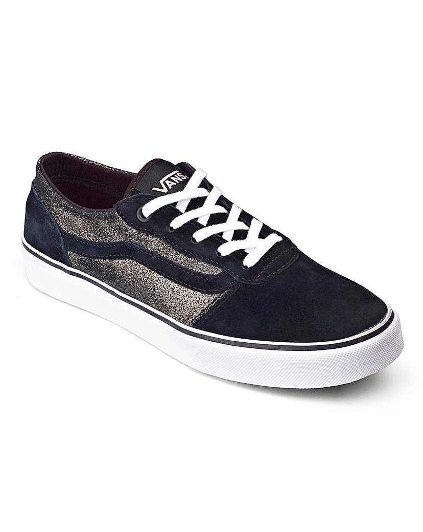 Vans Milton Trainers - predominant colour: navy; occasions: casual; material: suede; heel height: flat; toe: round toe; style: trainers; finish: plain; pattern: plain; shoe detail: moulded soul; season: a/w 2015; wardrobe: highlight