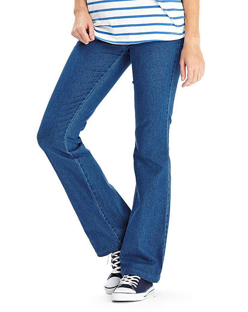 Bootcut Jeggings Short - length: standard; pattern: plain; style: jeggings; waist: mid/regular rise; predominant colour: denim; occasions: casual; fibres: cotton - stretch; texture group: denim; pattern type: fabric; season: a/w 2015; wardrobe: basic