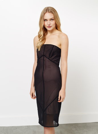 Womens Mesh Midi Bodycon Dress, Black - style: shift; length: below the knee; neckline: strapless (straight/sweetheart); fit: tailored/fitted; pattern: plain; sleeve style: strapless; predominant colour: black; occasions: evening; fibres: polyester/polyamide - 100%; sleeve length: sleeveless; texture group: sheer fabrics/chiffon/organza etc.; pattern type: fabric; season: a/w 2015; wardrobe: event