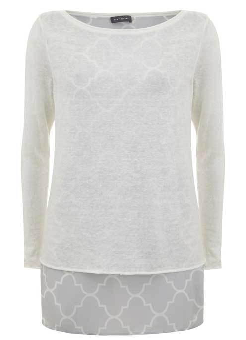 Faye Print Layered Tunic - pattern: plain; length: below the bottom; style: tunic; predominant colour: white; occasions: casual; fibres: linen - 100%; fit: body skimming; neckline: crew; sleeve length: long sleeve; sleeve style: standard; texture group: cotton feel fabrics; pattern type: fabric; season: a/w 2015