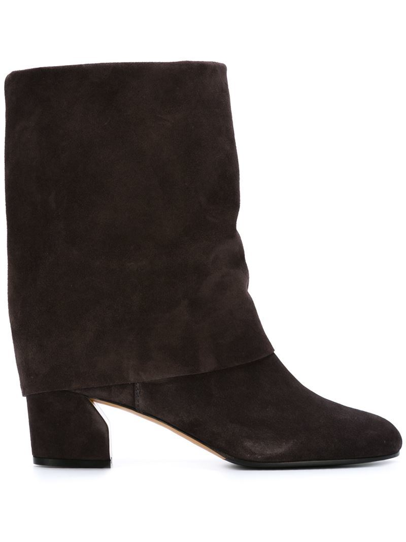 Foldover Boots, Women's, Brown - predominant colour: black; occasions: casual, creative work; material: suede; heel height: mid; heel: block; toe: round toe; boot length: ankle boot; style: standard; finish: plain; pattern: plain; season: a/w 2015