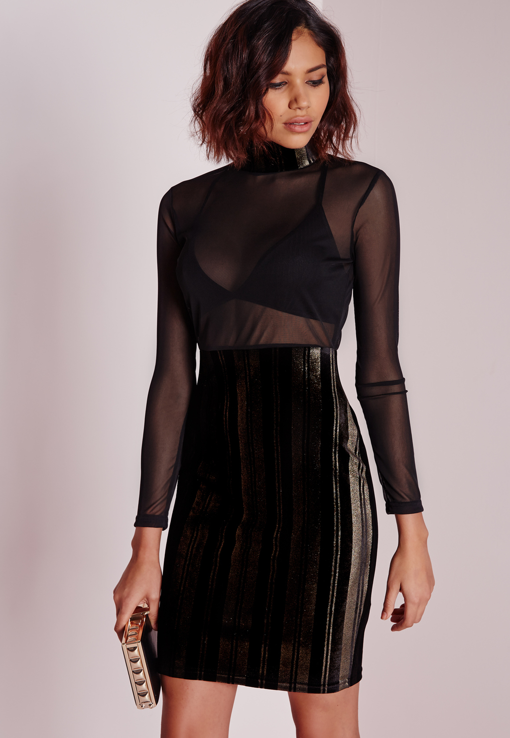 Foiled Mesh Midi Dress Black, Black - style: shift; length: mid thigh; fit: tailored/fitted; pattern: plain; neckline: high neck; predominant colour: black; occasions: evening; fibres: polyester/polyamide - mix; sleeve length: long sleeve; sleeve style: standard; pattern type: fabric; texture group: other - light to midweight; season: a/w 2015; wardrobe: event