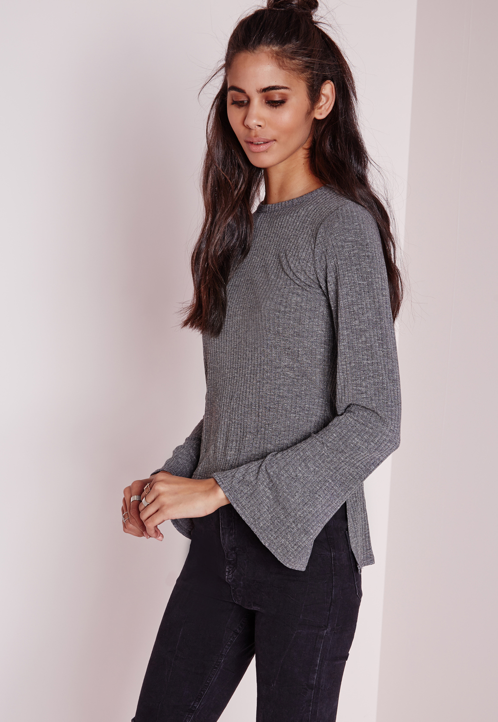 Ribbed Longline Bell Sleeve Top Grey, Grey - sleeve style: bell sleeve; pattern: plain; predominant colour: mid grey; occasions: casual, creative work; length: standard; style: top; fibres: polyester/polyamide - stretch; fit: body skimming; neckline: crew; sleeve length: long sleeve; pattern type: fabric; pattern size: standard; texture group: jersey - stretchy/drapey; season: a/w 2015; wardrobe: basic