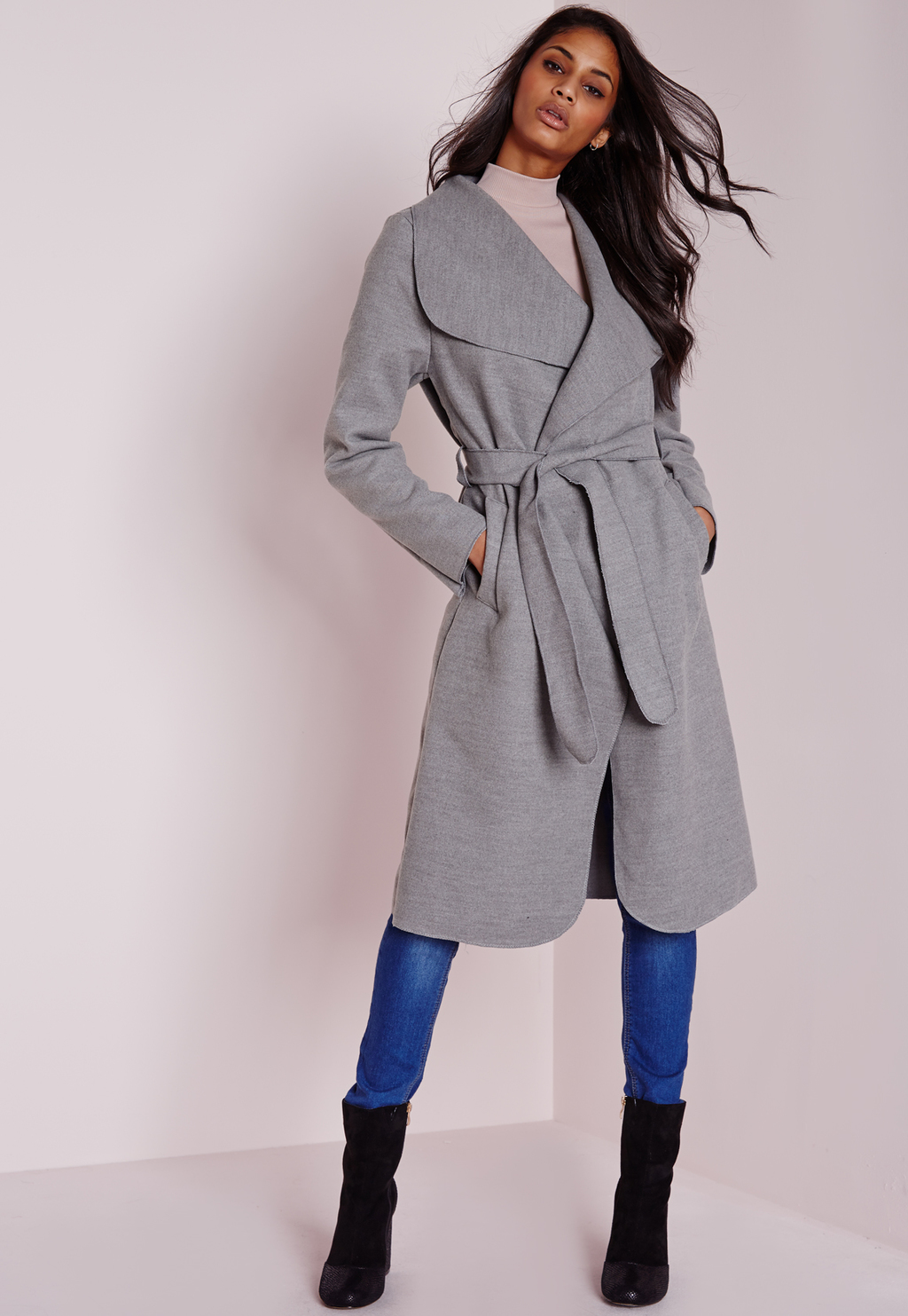 Long Belted Waterfall Coat Light Grey, Grey - pattern: plain; collar: shawl/waterfall; length: on the knee; style: wrap around; predominant colour: mid grey; occasions: casual, work, creative work; fit: tailored/fitted; hip detail: dip hem; waist detail: belted waist/tie at waist/drawstring; sleeve length: long sleeve; sleeve style: standard; collar break: medium; pattern type: fabric; texture group: woven bulky/heavy; season: a/w 2015; wardrobe: basic