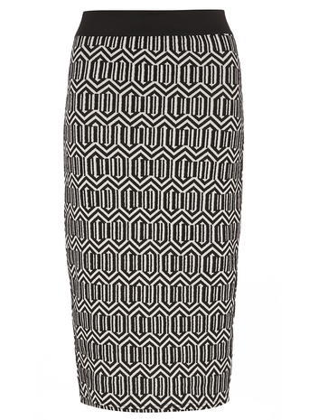Womens Tall Geo Printed Pencil Skirt Black - length: below the knee; style: pencil; fit: tailored/fitted; waist: high rise; predominant colour: black; occasions: evening, creative work; fibres: polyester/polyamide - mix; waist detail: feature waist detail; pattern type: fabric; pattern: patterned/print; texture group: woven light midweight; pattern size: big & busy (bottom); season: a/w 2015; wardrobe: highlight