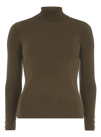 Womens Khaki Button Cuff Roll Neck Jumper Green - pattern: plain; neckline: roll neck; style: standard; predominant colour: khaki; occasions: casual; length: standard; fibres: acrylic - mix; fit: standard fit; sleeve length: long sleeve; sleeve style: standard; texture group: knits/crochet; pattern type: knitted - big stitch; season: a/w 2015; wardrobe: basic