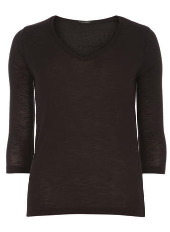 Womens Black Zip And Lace Top Black - neckline: v-neck; pattern: plain; predominant colour: black; occasions: evening; length: standard; style: top; fibres: polyester/polyamide - mix; fit: body skimming; sleeve length: 3/4 length; sleeve style: standard; texture group: jersey - clingy; pattern type: fabric; embellishment: lace; season: a/w 2015; wardrobe: event