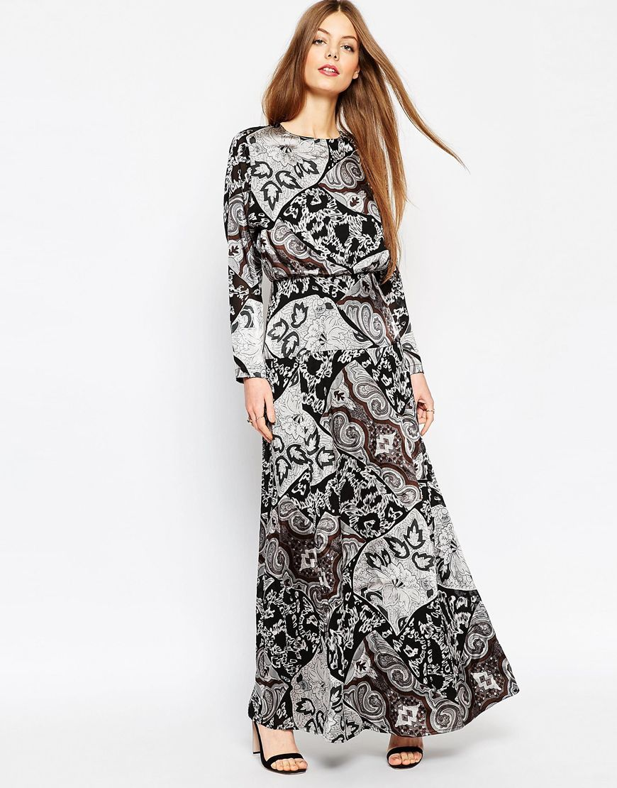 Mono Paisley Silky Maxi Dress Multi - fit: fitted at waist; style: maxi dress; length: ankle length; pattern: paisley; secondary colour: white; predominant colour: black; occasions: evening; fibres: polyester/polyamide - 100%; neckline: crew; sleeve length: long sleeve; sleeve style: standard; trends: monochrome; pattern type: fabric; pattern size: standard; texture group: woven light midweight; season: a/w 2015; wardrobe: event