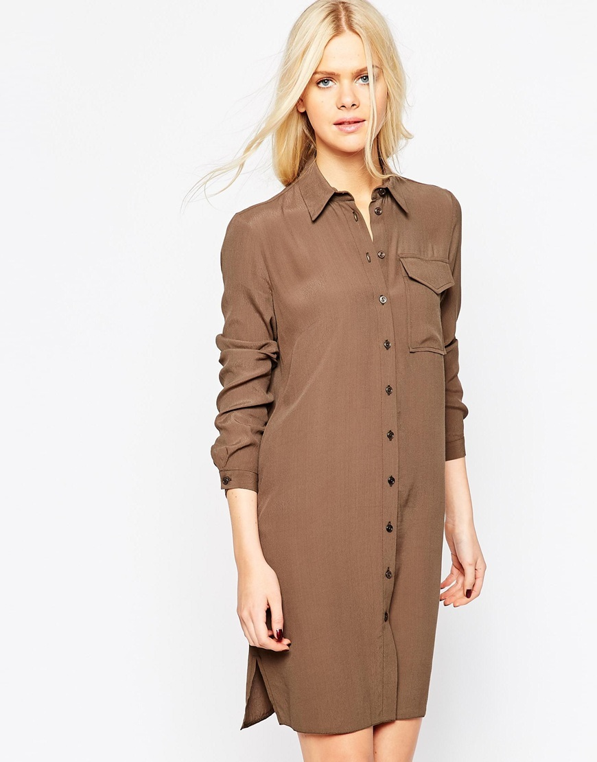 Pocket Shirt Dress Khaki - style: shirt; neckline: shirt collar/peter pan/zip with opening; pattern: plain; predominant colour: tan; occasions: casual, creative work; length: just above the knee; fit: body skimming; fibres: viscose/rayon - 100%; sleeve length: long sleeve; sleeve style: standard; texture group: crepes; bust detail: bulky details at bust; pattern type: fabric; season: a/w 2015; wardrobe: highlight
