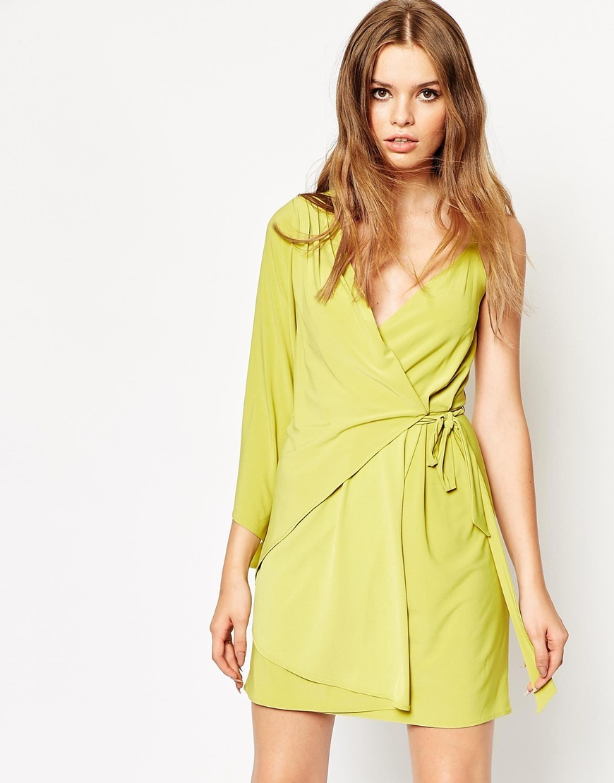 Assymetric One Shoulder Wrap Mini Dress Lime - style: faux wrap/wrap; length: mid thigh; neckline: low v-neck; pattern: plain; sleeve style: asymmetric sleeve; predominant colour: lime; occasions: evening; fit: body skimming; sleeve length: sleeveless; pattern type: fabric; texture group: jersey - stretchy/drapey; fibres: pvc/polyurethene - 100%; season: a/w 2015; wardrobe: event