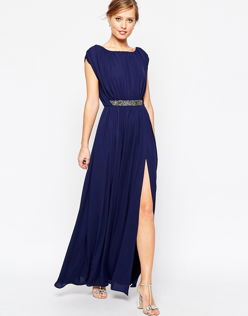 Embellished Waist Maxi Dress Navy - sleeve style: capped; pattern: plain; style: maxi dress; waist detail: belted waist/tie at waist/drawstring; predominant colour: navy; occasions: evening; length: floor length; fit: body skimming; fibres: polyester/polyamide - 100%; sleeve length: short sleeve; neckline: medium square neck; pattern type: fabric; texture group: jersey - stretchy/drapey; embellishment: sequins; season: a/w 2015; wardrobe: event