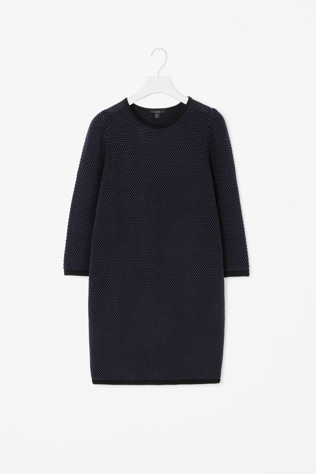 Textured Knit Dress - style: jumper dress; pattern: plain; predominant colour: navy; occasions: casual, creative work; length: just above the knee; fit: straight cut; fibres: cotton - 100%; neckline: crew; sleeve length: long sleeve; sleeve style: standard; texture group: knits/crochet; pattern type: knitted - fine stitch; season: a/w 2015; wardrobe: basic