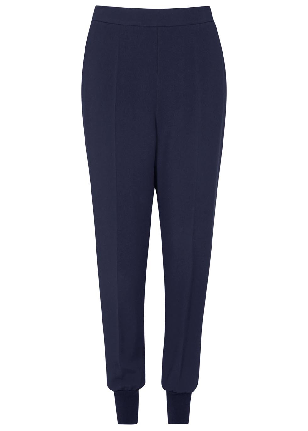 Julia Navy Crepe Jogging Trousers - length: standard; pattern: plain; style: tracksuit pants; waist: high rise; predominant colour: navy; occasions: casual, creative work; fibres: polyester/polyamide - mix; waist detail: narrow waistband; texture group: crepes; fit: baggy; pattern type: fabric; season: a/w 2015