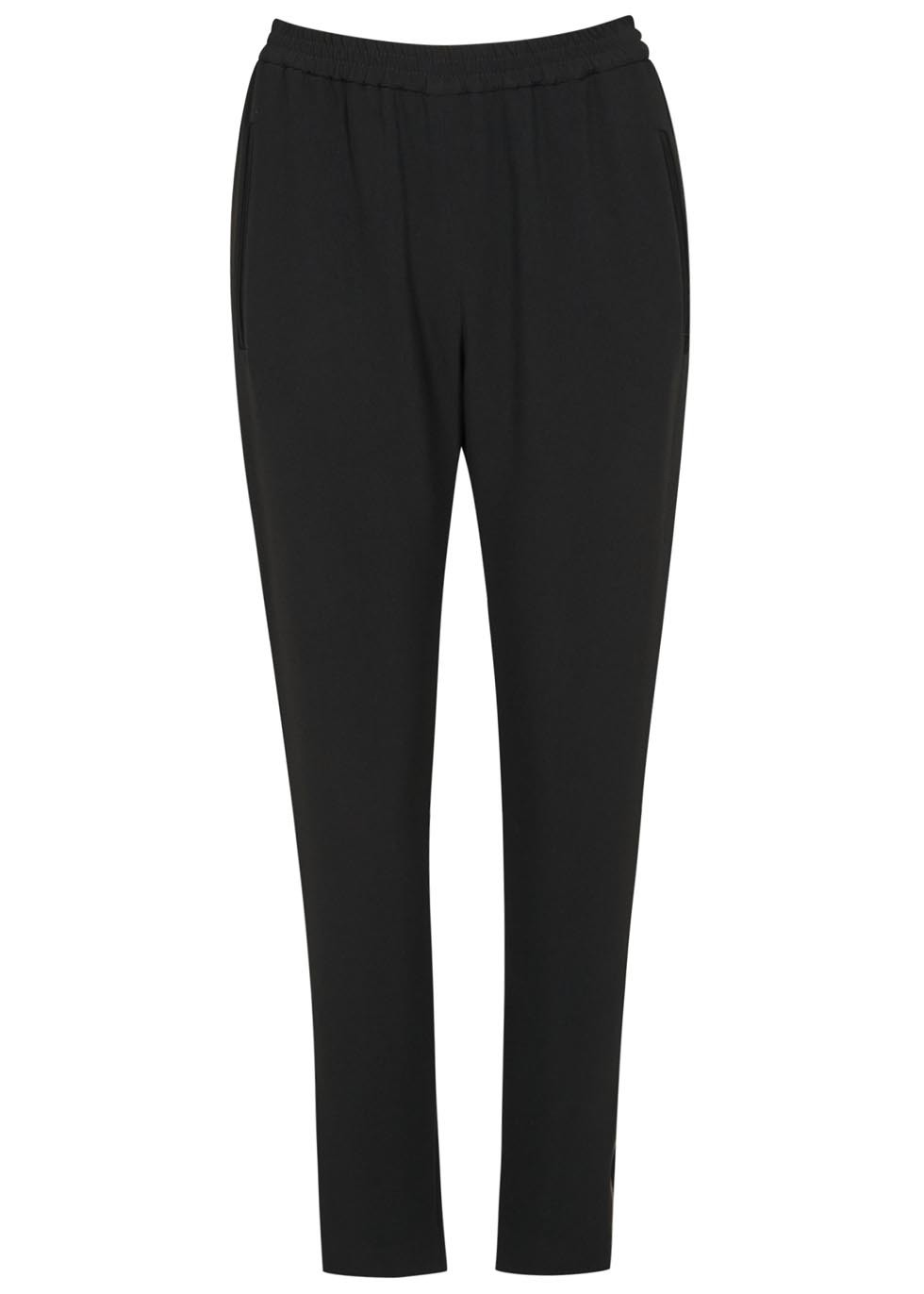Tamara Black Crepe Trousers - pattern: plain; style: peg leg; waist: high rise; predominant colour: black; occasions: casual, creative work; length: ankle length; fibres: polyester/polyamide - mix; waist detail: feature waist detail; texture group: crepes; fit: tapered; pattern type: fabric; season: a/w 2015; wardrobe: basic