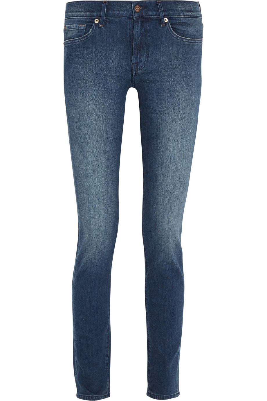 Roxanne Mid Rise Straight Leg Jeans Mid Denim - style: straight leg; length: standard; pattern: plain; pocket detail: traditional 5 pocket; waist: mid/regular rise; predominant colour: denim; occasions: casual; fibres: cotton - stretch; jeans detail: shading down centre of thigh; texture group: denim; pattern type: fabric; season: a/w 2015; wardrobe: basic