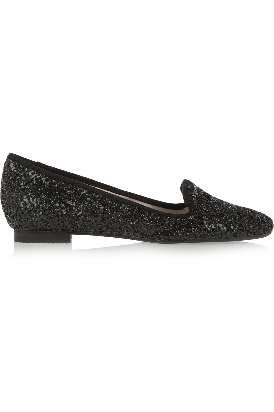 Carlotta Sequined Leather Slippers Black - predominant colour: black; occasions: casual, creative work; material: fabric; heel height: flat; embellishment: sequins; toe: round toe; finish: metallic; pattern: plain; style: slippers; season: a/w 2015; wardrobe: highlight