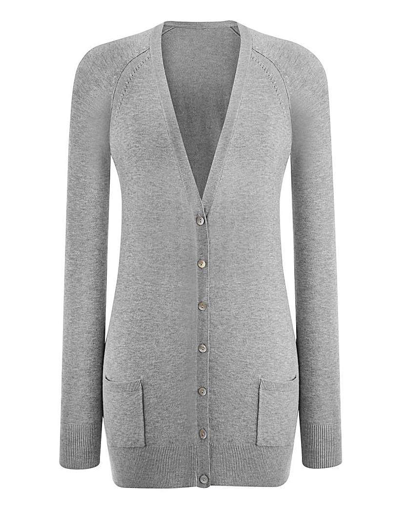 Boyfriend Cardigan - neckline: low v-neck; pattern: plain; hip detail: side pockets at hip; length: below the bottom; bust detail: buttons at bust (in middle at breastbone)/zip detail at bust; predominant colour: light grey; occasions: casual; style: standard; fit: slim fit; sleeve length: long sleeve; sleeve style: standard; texture group: knits/crochet; pattern type: fabric; fibres: viscose/rayon - mix; season: a/w 2015