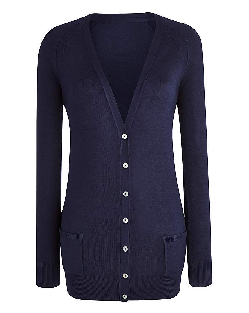 Boyfriend Cardigan - neckline: low v-neck; pattern: plain; length: below the bottom; predominant colour: navy; occasions: casual, work, creative work; style: standard; fit: standard fit; sleeve length: long sleeve; sleeve style: standard; texture group: knits/crochet; pattern type: knitted - fine stitch; season: a/w 2015