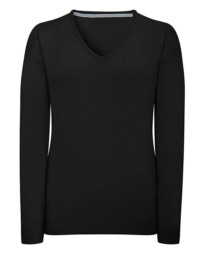 Black V Neck Jumper - neckline: v-neck; pattern: plain; style: standard; predominant colour: black; occasions: casual; length: standard; fit: slim fit; sleeve length: long sleeve; sleeve style: standard; texture group: knits/crochet; pattern type: fabric; fibres: viscose/rayon - mix; season: a/w 2015