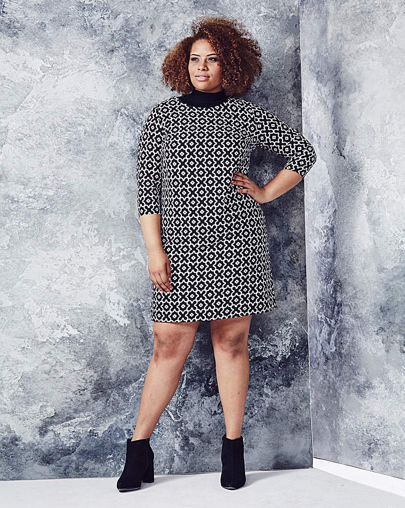 Black/White Geo Print Tunic Dress - style: tunic; neckline: roll neck; secondary colour: mid grey; predominant colour: black; occasions: casual, creative work; length: just above the knee; fit: body skimming; fibres: polyester/polyamide - 100%; sleeve length: 3/4 length; sleeve style: standard; pattern type: fabric; pattern size: standard; pattern: patterned/print; texture group: woven light midweight; season: a/w 2015