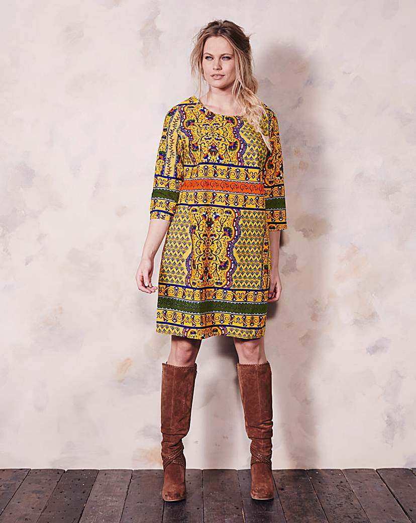 Yellow/Navy Tile Print Tunic Dress - style: shift; fit: loose; predominant colour: yellow; secondary colour: dark green; occasions: casual; length: on the knee; fibres: polyester/polyamide - 100%; neckline: crew; sleeve length: 3/4 length; sleeve style: standard; pattern type: fabric; pattern: patterned/print; texture group: other - light to midweight; multicoloured: multicoloured; season: a/w 2015; wardrobe: highlight