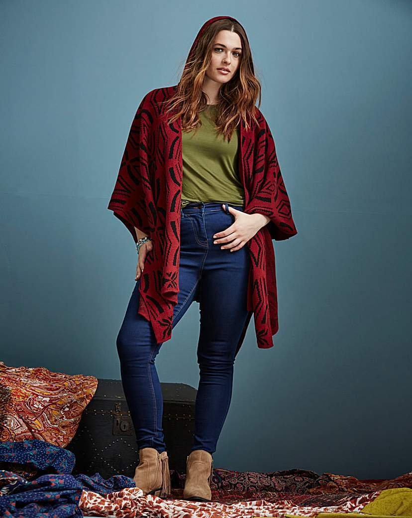 Hooded Wrap Cardigan - neckline: shawl; length: below the bottom; style: open front; predominant colour: true red; secondary colour: black; occasions: casual; fibres: acrylic - 100%; fit: loose; sleeve length: 3/4 length; sleeve style: standard; texture group: knits/crochet; pattern type: fabric; pattern: patterned/print; multicoloured: multicoloured; season: a/w 2015; wardrobe: highlight