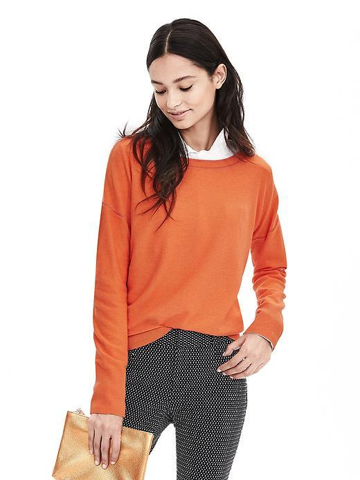 Tipped Italian Cashmere Blend Sweater Orange - neckline: round neck; pattern: plain; style: standard; predominant colour: bright orange; occasions: casual; length: standard; fit: slim fit; sleeve length: long sleeve; sleeve style: standard; texture group: knits/crochet; pattern type: fabric; fibres: cashmere - mix; season: a/w 2015; wardrobe: highlight