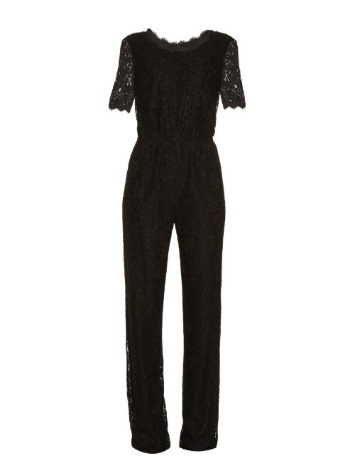 Kendra Jumpsuit - length: standard; predominant colour: black; occasions: evening, occasion; fit: fitted at waist & bust; fibres: viscose/rayon - stretch; neckline: crew; back detail: keyhole/peephole detail at back; sleeve length: short sleeve; sleeve style: standard; texture group: crepes; style: jumpsuit; pattern type: fabric; pattern size: standard; pattern: patterned/print; embellishment: lace; season: a/w 2015; wardrobe: event; embellishment location: bust, shoulder