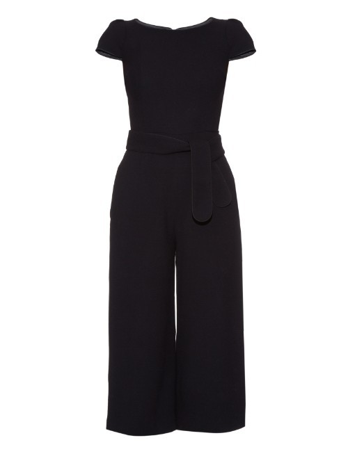 Balthazar Cropped Crepe Jumpsuit - neckline: round neck; sleeve style: capped; pattern: plain; predominant colour: black; occasions: evening, occasion; length: calf length; fit: fitted at waist & bust; fibres: cotton - stretch; sleeve length: short sleeve; texture group: crepes; style: jumpsuit; pattern type: fabric; season: a/w 2015; wardrobe: event