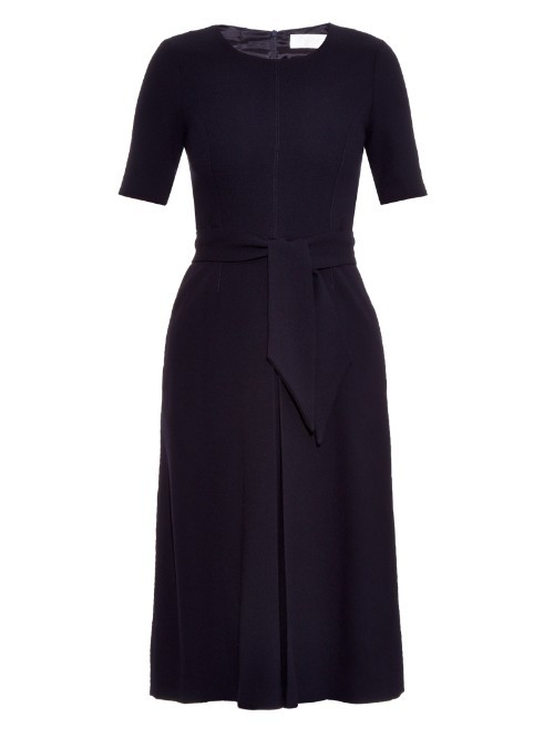 Blythe Pleated Wool Crepe Midi Dress - style: shift; length: below the knee; neckline: round neck; pattern: plain; waist detail: belted waist/tie at waist/drawstring; predominant colour: navy; occasions: evening, work, creative work; fit: soft a-line; fibres: wool - 100%; sleeve length: short sleeve; sleeve style: standard; pattern type: fabric; texture group: woven light midweight; season: a/w 2015