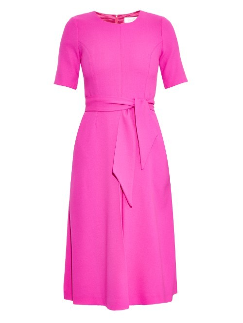 Blythe Pleated Wool Crepe Midi Dress - length: below the knee; pattern: plain; waist detail: belted waist/tie at waist/drawstring; predominant colour: hot pink; fit: fitted at waist & bust; style: fit & flare; fibres: wool - mix; occasions: occasion, creative work; neckline: crew; sleeve length: sleeveless; sleeve style: standard; texture group: crepes; pattern type: fabric; season: a/w 2015