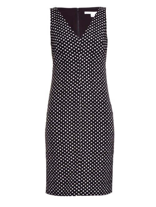 Minetta Dress - style: shift; neckline: v-neck; fit: tailored/fitted; sleeve style: sleeveless; pattern: polka dot; secondary colour: white; predominant colour: black; occasions: evening; length: just above the knee; fibres: cotton - mix; sleeve length: sleeveless; pattern type: fabric; texture group: woven light midweight; multicoloured: multicoloured; season: a/w 2015; wardrobe: event