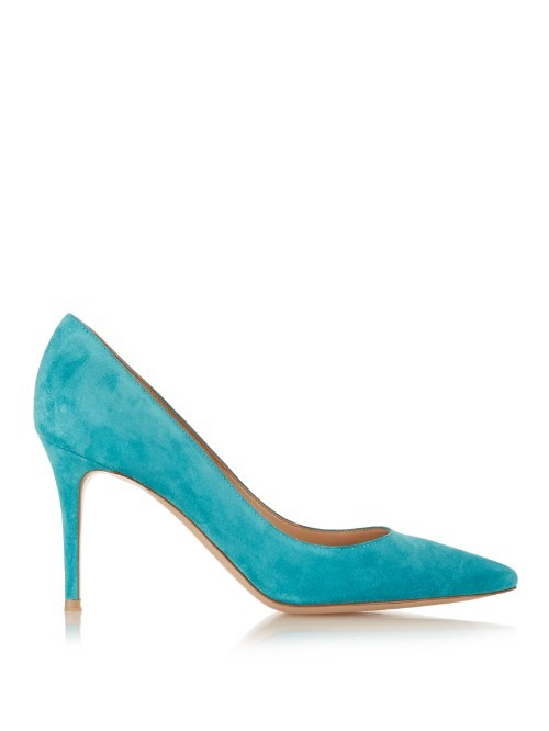 Gianvito Point Toe Suede Pumps - predominant colour: turquoise; occasions: evening, occasion; material: suede; heel height: high; heel: stiletto; toe: pointed toe; style: courts; finish: plain; pattern: plain; season: a/w 2015; wardrobe: event