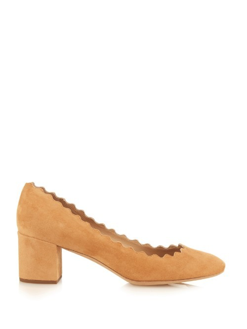 Lauren Scallop Edged Block Heel Suede Pumps - predominant colour: mustard; occasions: evening, occasion, creative work; material: suede; heel height: mid; heel: block; toe: pointed toe; style: courts; finish: plain; pattern: plain; season: a/w 2015; wardrobe: highlight