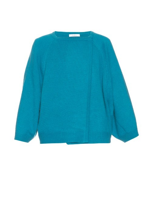 Foster Cardigan - pattern: plain; neckline: collarless open; style: open front; predominant colour: turquoise; occasions: casual, work, creative work; length: standard; fit: slim fit; fibres: cashmere - 100%; sleeve length: 3/4 length; sleeve style: standard; texture group: knits/crochet; pattern type: knitted - fine stitch; season: a/w 2015