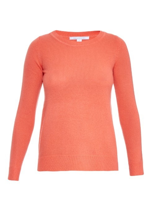 Zandra Sweater - pattern: plain; style: standard; predominant colour: coral; occasions: casual; length: standard; fit: slim fit; neckline: crew; fibres: cashmere - 100%; sleeve length: long sleeve; sleeve style: standard; texture group: knits/crochet; pattern type: fabric; season: a/w 2015