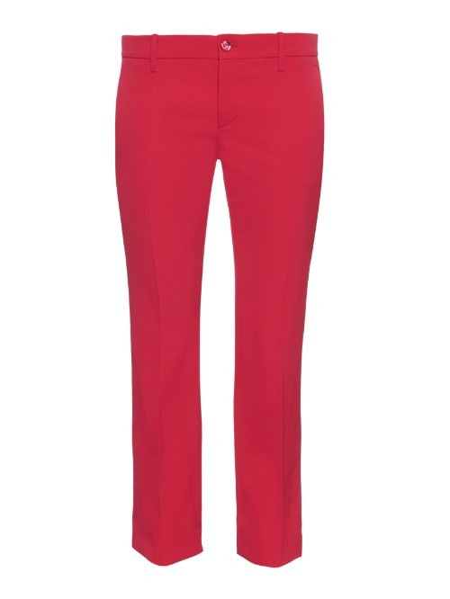 Slim Kick Flare Cropped Stretch Wool Trousers - pattern: plain; waist: mid/regular rise; predominant colour: true red; occasions: casual, creative work; length: ankle length; fibres: wool - mix; fit: straight leg; pattern type: fabric; texture group: woven light midweight; style: standard; season: a/w 2015