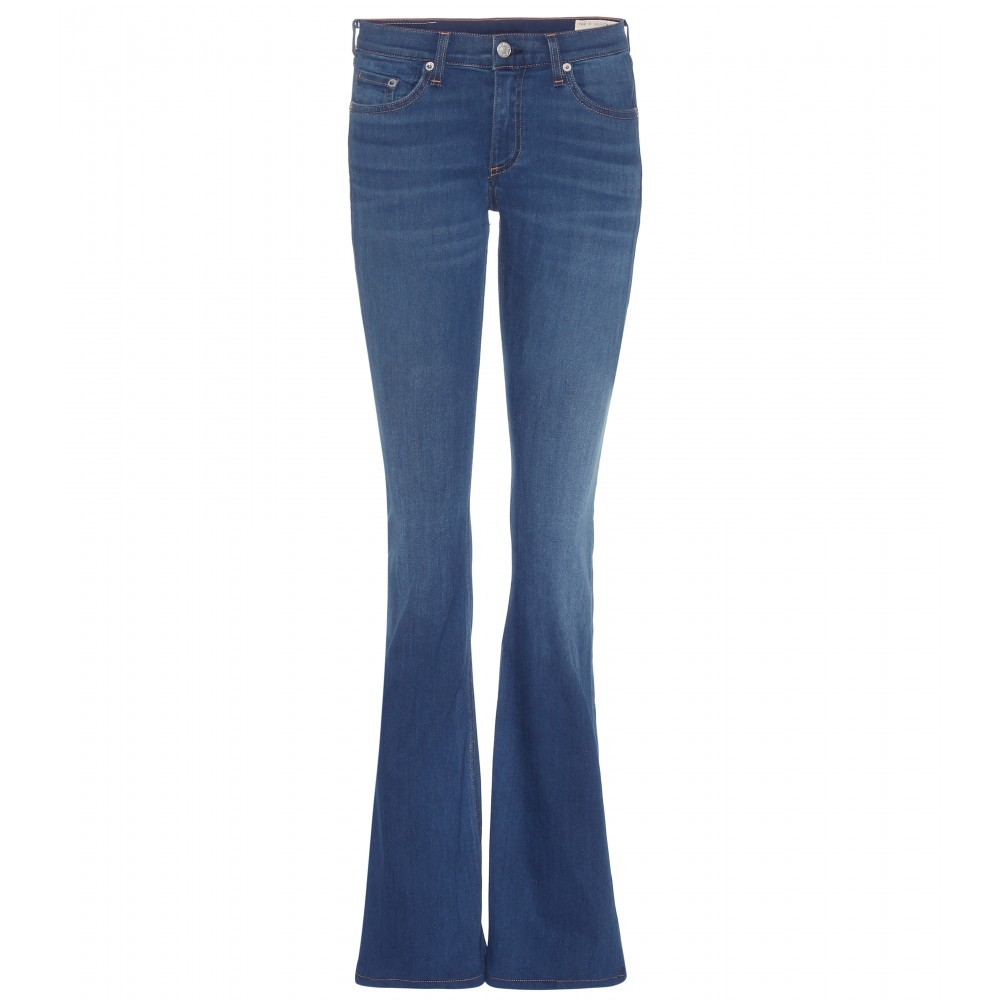 Bell Flared Jeans - style: flares; length: standard; pattern: plain; pocket detail: traditional 5 pocket; waist: mid/regular rise; predominant colour: denim; occasions: casual; fibres: cotton - stretch; jeans detail: dark wash; texture group: denim; pattern type: fabric; season: a/w 2015; wardrobe: basic