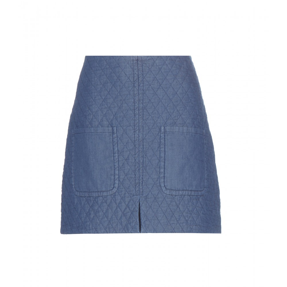 Quilted Cotton Miniskirt - length: mini; pattern: plain; fit: tailored/fitted; hip detail: front pockets at hip; waist: high rise; predominant colour: denim; occasions: casual; style: mini skirt; fibres: cotton - 100%; texture group: denim; pattern type: fabric; embellishment: quilted; season: a/w 2015